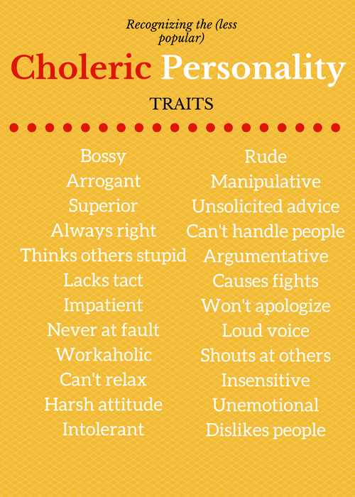 Choleric Bad Traits